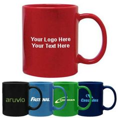 """Promotional Sumatra 11 Oz Ceramic Mugs: Available Colors: Black, Navy Blue, Red, Green, Light Blue Product Size: 3 3/4"""". Imprint Area: 3"""" x 2 1/4"""" (Sides) Box Weight: 30 lbs. Packaging: 36. Material: Ceramic. Production Time: 3-5 business days. Handling Charge: $5 Per Protective-Pack box.  #customceramicmugs #promotionalproduct #sumatraceramicmug"""