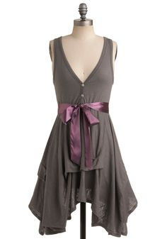 Craft Party Dress in Stone Grey - Mid-length, Grey, Solid, Buttons, Belted, Party, A-line, Sleeveless, Summer, Casual