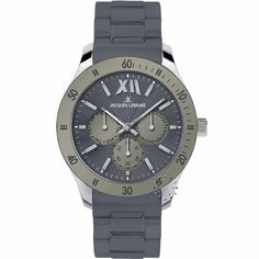 Jacques LEMANS Rome Multifunction Grey Rubber Strap Μοντέλο: 1-1691G Τιμή: 128€ http://www.oroloi.gr/product_info.php?products_id=23475