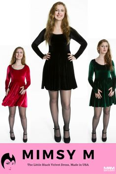 Just in time for the #holidays! This gorgeous long sleeve velvet dress by @mimsymclothing is the perfect party, date night, or dancing dress. It can also be dressed down for casual wear. Pick it up in your favorite holiday colors: red, green or black stretch velvet, and WOW them at the holiday parties! Best part? Reasonably priced, easy to care and #MadeinUSA! #MadeinAmerica #AmericanMade #LittleBlackDress #HolidayWear #PartyDress #PartyWear