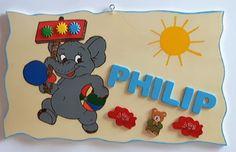 Türschilder - Türschild der kleine Elefant - ein Designerstück von Juretko-Marion40 bei DaWanda
