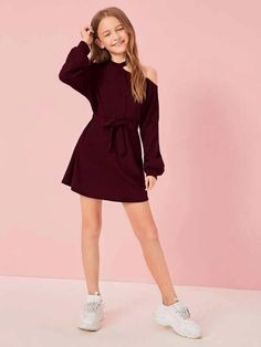 To find out about the Girls Asymmetrical Neck Bishop Sleeve Belted Dress at SHEIN, part of our latest Girls Dresses ready to shop online today! Preteen Girls Fashion, Teenage Girl Outfits, Dresses Kids Girl, Kids Outfits Girls, Cute Girl Outfits, Girls Fashion Clothes, Cute Outfits For Kids, Teen Fashion Outfits, Cute Casual Outfits