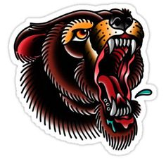 'Traditional Mighty Bear' Sticker by Hand Tattoos, Rihanna Hand Tattoo, Bear Tattoos, Sleeve Tattoos, Buddha Tattoos, Side Tattoos, Traditional Bear Tattoo, Traditional Tattoo Design, Tattoo Sketches