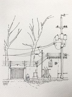 Solar Bistró - Urbansketch - Inktober becomes the first of a resuming of my old projects on hold. The Santa Rosa Urban Sketch project is back. Landscape Sketch, Landscape Drawings, Drawing Landscapes Pencil, Simple Landscape Drawing, Pencil Art Drawings, Art Drawings Sketches, Drawing Drawing, Cityscape Drawing, Architecture Drawing Sketchbooks