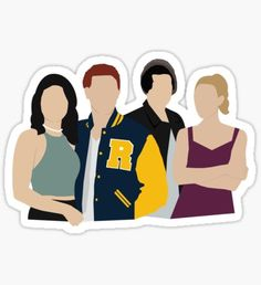 'Riverdale Characters' Sticker by Becca Lutterschmidt – car stickers Tumblr Stickers, Phone Stickers, Cool Stickers, Printable Stickers, Riverdale Tumblr, Riverdale Betty, Riverdale Archie, Riverdale Poster, Vsco
