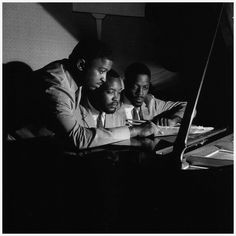 The Three Sounds [left to right] Andrew Simpkins, Gene Harris and Billy Dowdy at The Off Beat Club in New York City, September 1958 (photo by Francis Wolff) American Idioms, Francis Wolff, Hard Bop, Charles Mingus, Cool Jazz, All That Jazz, Jazz Musicians, Film Music Books, Speak The Truth
