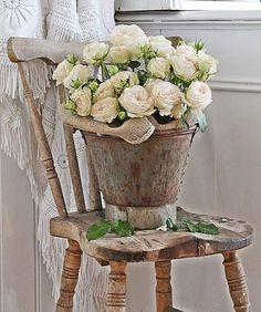 textures and tones and a bucket of roses on an antique chair VIBEKE DESIGN Bouquet Champetre, Deco Champetre, Country Chic, Country Decor, Farmhouse Decor, Rustic Chic, Rustic Style, Rose Cottage, Cottage Style
