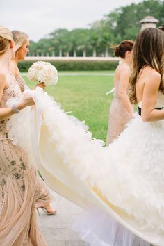 Gold sparkle bridesmaid dresses + lovely gown