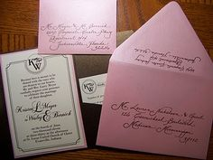 Calligraphy - Addressing Wedding Invitations  Brown Ink on Pink Metallic envelopes  LOVE IT!