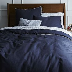 Linen Cotton Blend Duvet Cover + Shams - India Ink #WestElm