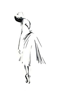 Black and white minimalist drawing. Ballerina.