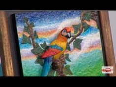 CUADRO 3D PAPAGAYOS - YouTube Clay Wall Art, Diy And Crafts, Painting, Youtube, Women's Fashion, Tv, Ideas, Canvas Art, Wine Bottle Crafts