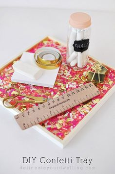 See hot to make this super easy DIY Confetti Tray - Delineateyourdwelling.com
