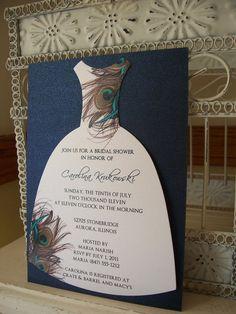 Peacock Bridal Shower InvitationCustom Die by BeautifullyInviting, $2.00