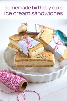 Are you planning a birthday party for your growing toddler? Add a splash of color to the dessert table with these festive homemade birthday cake ice cream sandwiches. With just a few simple baking ingredients you'll have an adorable kid-friendly dessert that the birthday boy or girl will love!