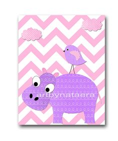 Hippopotamus Nursery Kids Wall Art Baby Girl by artbynataera, $14.00