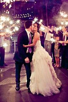 Making a grand entrance -- or exit. I love the idea of doing sparklers instead of having stuff thrown at you.