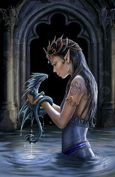 HD wallpaper: digital art, fantasy art, Anne Stokes, dragon, women, portrait display