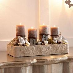 Kerzentablett mit vier Kerzen für die Adventszeit #loberon #christmas #Xmas #Weihnachten