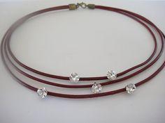 leather choker with crystals Gotas de estrellas by inatanka