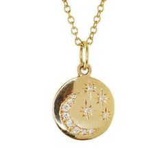 gold diamond star and moon mini disk necklace – Luna Skye Disc Necklace, Moon Necklace, Watch Necklace, Pendant Necklace, Dainty Jewelry, Jewelry Accessories, Diamond Jewelry, Antique Jewelry, Star Jewelry