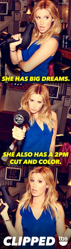 She has big hair and even bigger dreams. Catch Ashley Tisdale as Danni in the TBS new comedy Clipped. Premieres Tuesday, June 16, 2015 at 10/9c.
