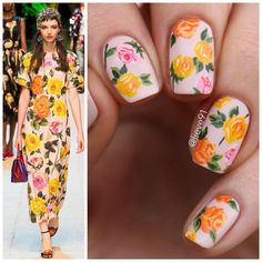 """2,374 Likes, 35 Comments - @lieve91 on Instagram: """"Nail art for today inspired by this gorgeous @michaelcostello dress from Spring 2017 collection ❤"""""""