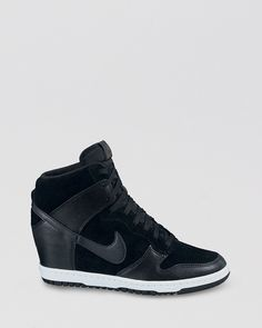 Nike High Top Lace Up Sneakers - Women's Dunk Sky Hi Shoes - Bloomingdale's All Nike Shoes, Discount Nike Shoes, Nike Shoes For Sale, Wedge Sneakers, High Top Sneakers, Sneakers Nike, Nike Trainers, Nike Air Force 1 Outfit, All Black Fashion