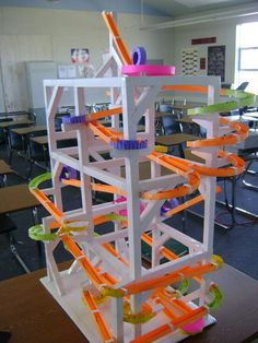 Saw a Paper Roller Coaster at the Museum of Life & Science today. MUCH better than my cardboard & tube marble run.