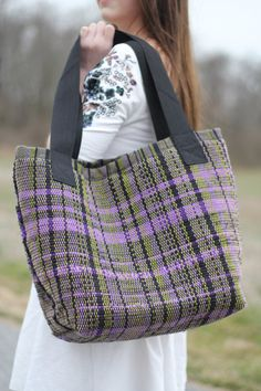 Loom woven tote bag by SleepyOwlFiberArts on Etsy, $50.00