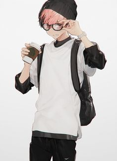 Anime Boy Coffee and Glasses by Twitter @tomo_Q0