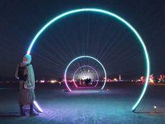 light art installation Enter the void Open Architecture, Installation Architecture, Cool Lighting, Outdoor Lighting, Burning Man Art, Burning Man Night, Light Art Installation, Instalation Art, Interactive Art