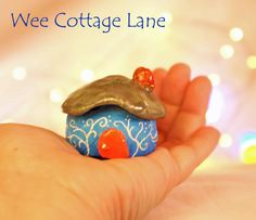 Blue and red Gnome Home, Tiny House, Ceramic House, Mini Cottage, Miniature Cottage, Wee Cottage Lane, Tiny, Miniature Home