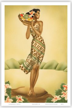 HAWAIIAN Vintage Poster HAWAII Tropical Art Deco Gill