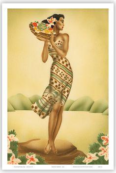 HAWAIIAN Vintage Poster HAWAII Tropical Art Deco Gill