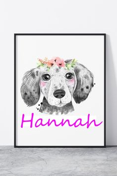 Dog Nursery Theme, Dog Nursery Print, Floral dog print Puppy Names, Dog Names, Nursery Themes, Nursery Prints, Puppy Nursery, Moose Art, Puppies, Floral, Dogs