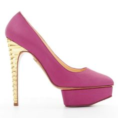 Dolly cloth heels Charlotte Olympia Pink size 38 EU in Cloth - 8834029 Platform High Heels, High Heel Pumps, Pumps Heels, Satin Rose, Pink Satin, Charlotte Olympia, Open Toe Espadrilles, Rose Fuchsia, Black Slippers