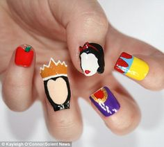 Disney diva: Kayleigh O'Connor's nails painted to resemble Snow White, the prince, her wicked stepmother, the mirror and the poisoned apple