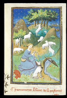 Queen's Book, fol. 221. Shepherd. Note: BL labels this as a man. Skirt length and chest curve makes me believe it is a woman.