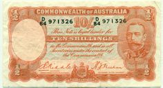 1936 AUSTRALIA 10s Riddle Sheehan