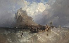 Mount St Michael, Cornwall Mont Saint-Michel, Cornouailles Monte de San Miguel, Cornualles Clarkson Frederick Stanfield 1830 Oil on canvas x cm National Gallery of Victoria, Melbourne Joseph Mallord William Turner, Seascape Paintings, Landscape Paintings, Landscapes, St. Michael, Saint Michael, St Michael's Mount, Google Art Project, Mont Saint Michel