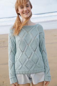 Blasses Türkis - Rhombenmuster-Pullover gestrickt mit ggh-Garn COTTONEA (100% organische Baumwolle), Garnpaket zu Modell 2 aus Rebecca Nr. 62 #stricken #handarbeit #diy #knitting