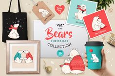 Polar Bears, Christmas illustrations by Marish on @creativemarket