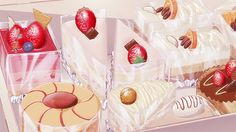A delicious helping of food in anime& drawing of food Aesthetic Food, Aesthetic Anime, Cute Food, Yummy Food, Food Cartoon, Think Food, Anime Girl Drawings, Food Drawing, Food Illustrations