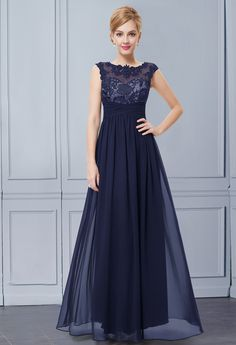 Women's Elegant Navy Blue Maxi Lacy Evening Dress #everpretty #navyblue #maxi