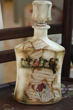 Bottle with decoupage~Μπουκάλι με decoupage:                                                                                                                                                                                 More
