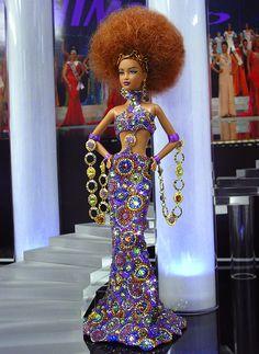 Whoah! What beading, and hair! Ninimomo Miss Tunisia 2011 ooak Barbie