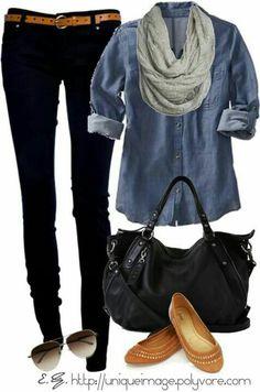 89e5a0df04 9 Best Denim shirt black skirt! images