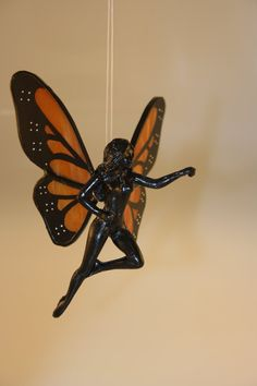 Stained Glass Hand-Painted Monarch Butterfly Flying Fairy Figurine - Made to Order