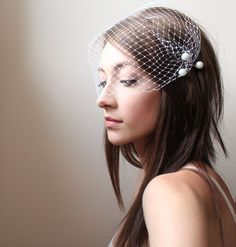 birdcage and pearls.. this is what i want instead of a veil but maybe with fabric flowers with the pearls